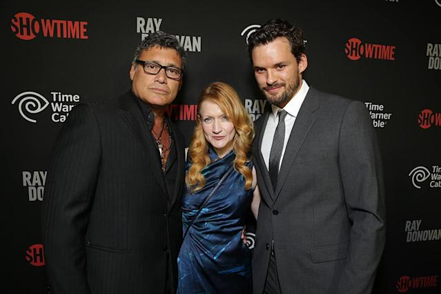 Steven Bauer, Paula Malcomson, and Austin Nichols at the Showtime premiere of the new drama series Ray Donovan presented by Time Warner Cable, on Tuesday, June, 25, 2013 in Los Angeles. (Photo by Eric Charbonneau/Invision for Showtime/AP Images)