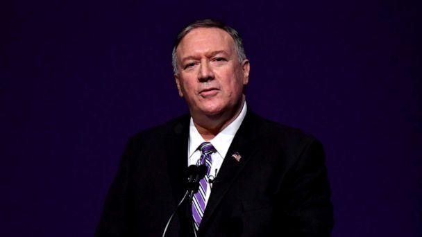 PHOTO: United States Secretary of State Michael Pompeo delivers the year's first Alfred M Landon Lecture at Kansas State University, Manhattan, Kansas, September 6, 2019. (Mark Reinstein/Getty Images)
