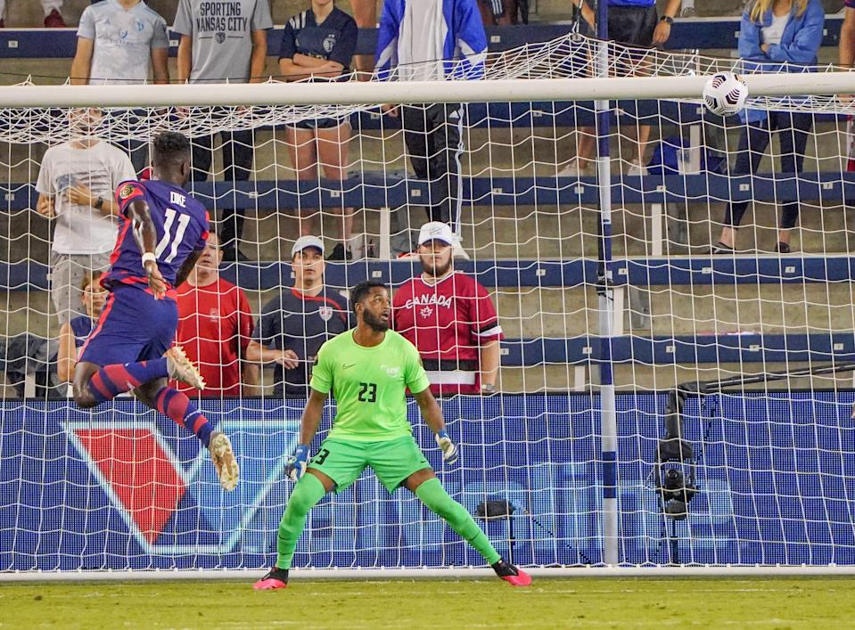 Daryl Dike (11) heads in a goal as against Martinique during the Concacaf Gold Cup at Children's Mercy Park. Dike scored two goals in the USMNT's 6-1 win.