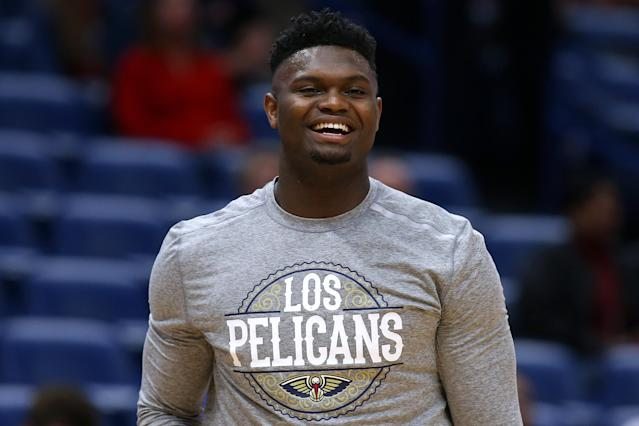 """No. 1 overall pick <a class=""""link rapid-noclick-resp"""" href=""""/nba/players/6163/"""" data-ylk=""""slk:Zion Williamson"""">Zion Williamson</a> has just 19 NBA games under his belt. (Jonathan Bachman/Getty Images)"""