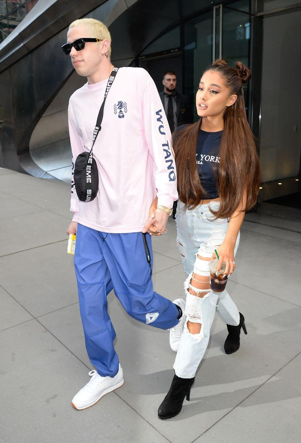 <p>Ariana Grande and Pete Davidson in NYC.</p>
