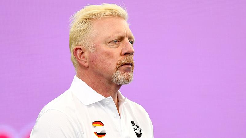 A concerned Germany captain Boris Becker watches Alexander Zverev lose at the ATP Cup.