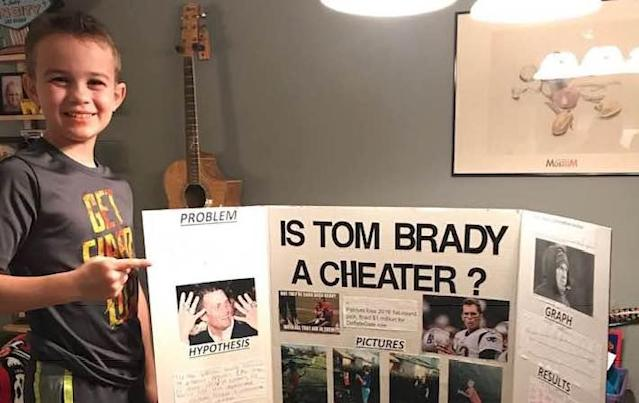 "Ace Davis, 10, created a science project that proved <a class=""link rapid-noclick-resp"" href=""/nfl/players/5228/"" data-ylk=""slk:Tom Brady"">Tom Brady</a> is a cheater. (Facebook)"