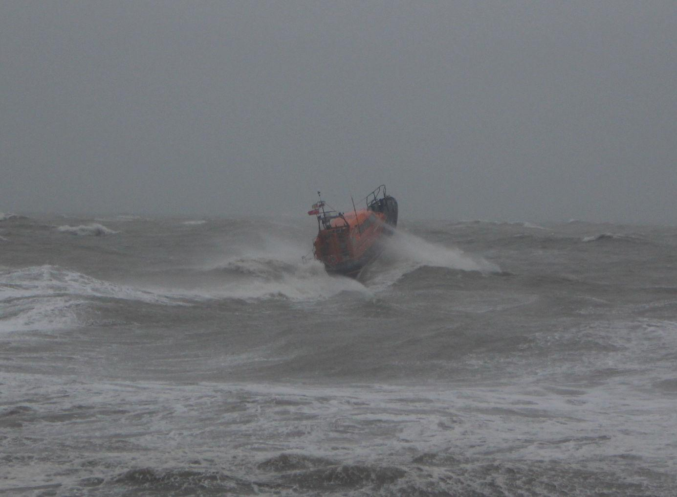 Handout photo from Hastings Council showing a RNLI boat going to sea off the coast of Hastings to search for a missing surfer, who was later found safe. PA Photo. Picture date: Sunday February 9, 2020. See PA story WEATHER Storm. Photo credit should read: Hastings Council /PA Wire NOTE TO EDITORS: This handout photo may only be used in for editorial reporting purposes for the contemporaneous illustration of events, things or the people in the image or facts mentioned in the caption. Reuse of the picture may require further permission from the copyright holder.
