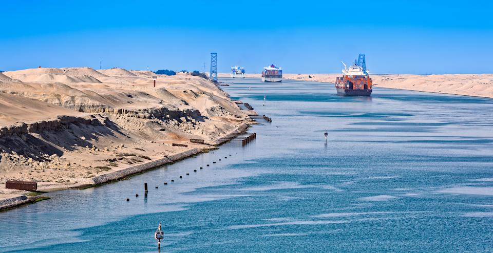 Ship's convoy passing through Suez Canal