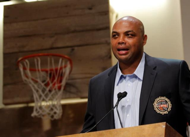 """Barkley, representing the 1992 United States Olympic """"Dream Team"""" in the Basketball Hall of Fame class of 2010, speaks in Springfield"""