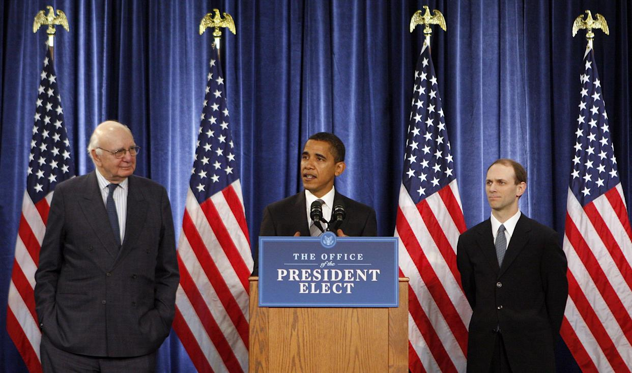 President-elect Barack Obama announces the Economic Recovery Advisory Board on Nov. 26, 2008. Obama named former Federal Reserve Chairman Paul Volcker, left, to a panel that would advise on how to pull the economy out of recession. University of Chicago economist Austan Goolsbee would also serve on the board. (Photo: Rex/Shutterstock)