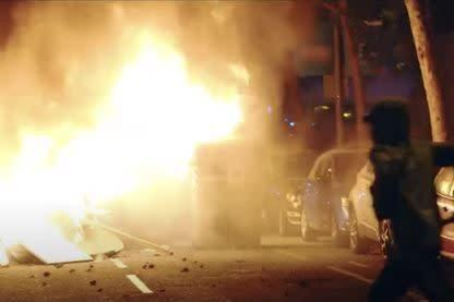 The Republican National Convention used this image as an example of protest violence in America. The images is from Barcelona, Spain in 2019: Republican National Convention via YouTube