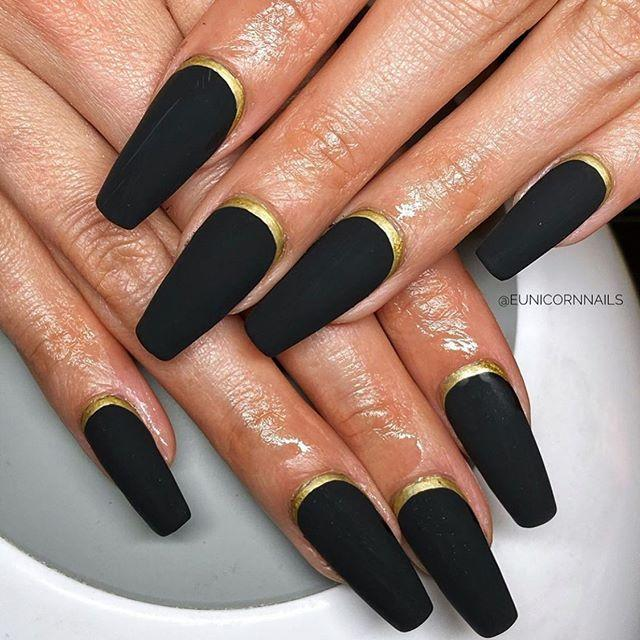 "<p>Again, simplicity for the win. These matte nails are perfect for the Halloween season. Plus, the gold accented nail beds are a classy touch. </p><p><a href=""https://www.instagram.com/p/B72AIi0nowL/?utm_source=ig_embed&utm_campaign=loading"" rel=""nofollow noopener"" target=""_blank"" data-ylk=""slk:See the original post on Instagram"" class=""link rapid-noclick-resp"">See the original post on Instagram</a></p>"