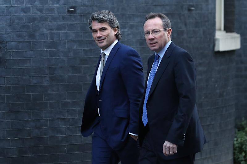 British Telecom (BT) former and present CEO's Gavin Patterson (L) and Philip Jansen walk up Downing street in central London on January 30, 2019. (Photo by Daniel LEAL-OLIVAS / AFP) (Photo credit should read DANIEL LEAL-OLIVAS/AFP via Getty Images)