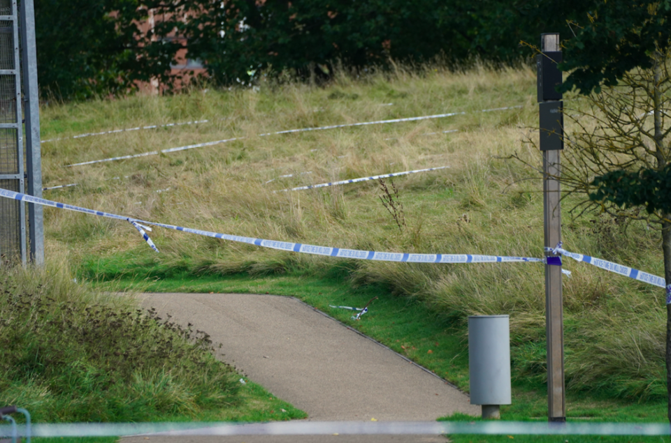 Police tape in Cator Park, Kidbrooke, south London, near to the scene where the body of Sabina Nessa was found. (PA)
