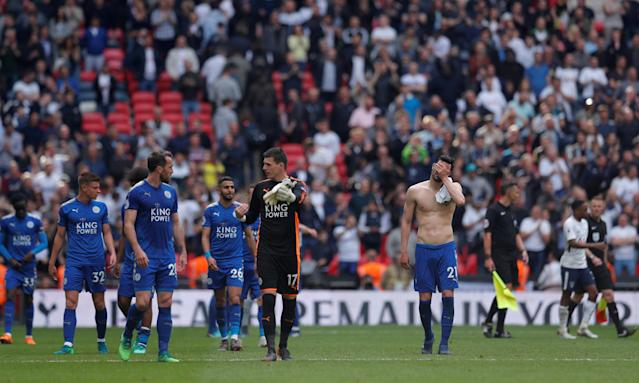 "Soccer Football - Premier League - Tottenham Hotspur vs Leicester City - Wembley Stadium, London, Britain - May 13, 2018 Leicester City players after the match Action Images via Reuters/Andrew Couldridge EDITORIAL USE ONLY. No use with unauthorized audio, video, data, fixture lists, club/league logos or ""live"" services. Online in-match use limited to 75 images, no video emulation. No use in betting, games or single club/league/player publications. Please contact your account representative for further details."