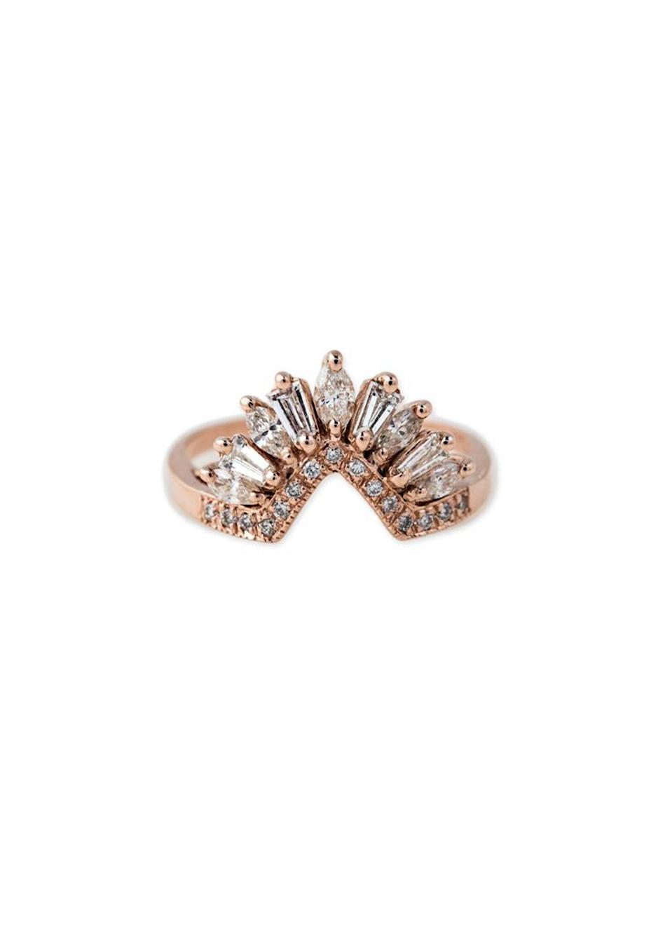 """Modern and versatile, a nesting band can be worn in lieu of a wedding band, two bands on either side of an engagement ring, or stacked two or three deep to create the illusion of a bigger or more ornate ring. $3625, Jacquie Aiche. <a href=""""https://jacquieaiche.com/collections/rings/products/diamond-marquise-baguette-fringe-band"""" rel=""""nofollow noopener"""" target=""""_blank"""" data-ylk=""""slk:Get it now!"""" class=""""link rapid-noclick-resp"""">Get it now!</a>"""