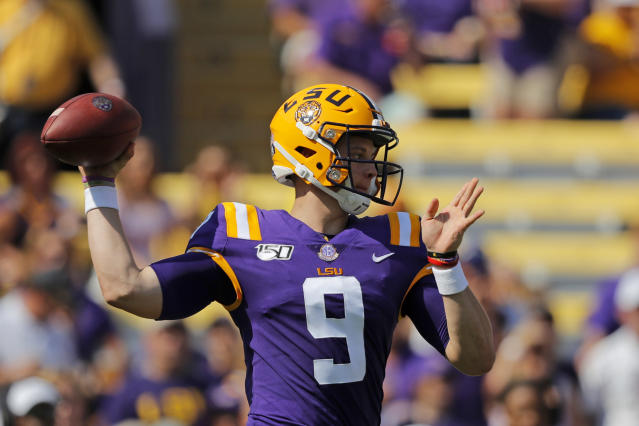 LSU quarterback Joe Burrow (9) throws a pass in the first half of an NCAA college football game against Utah State in Baton Rouge, La., Saturday, Oct. 5, 2019. (AP Photo/Gerald Herbert)
