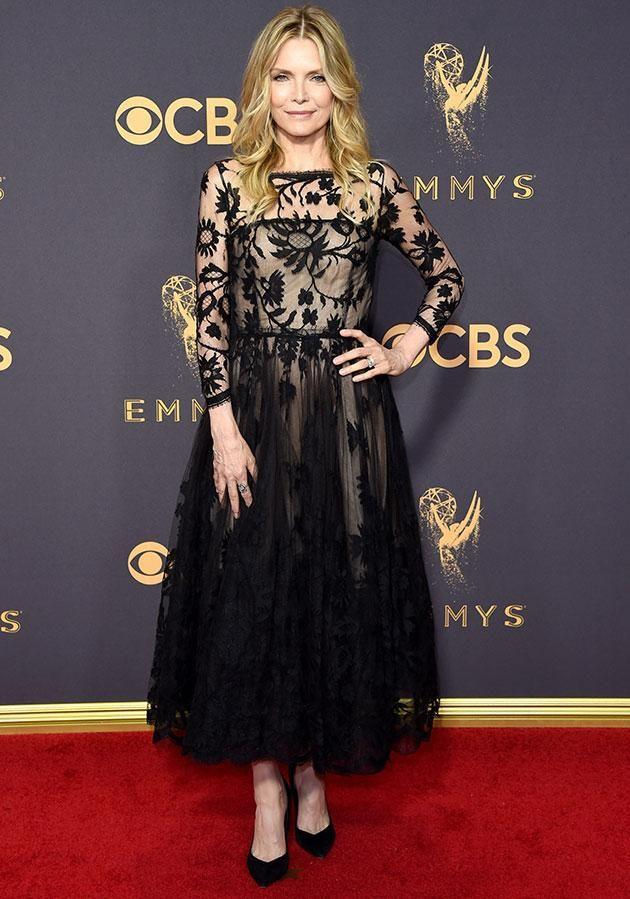Michelle Pfeiffer went for this whimsical black frock. Photo: Getty