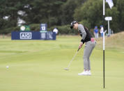 United States' Jennifer Song putt on the 13th green during the second round of the Women's British Open golf championship, in Carnoustie, Scotland, Friday, Aug. 20, 2021. (AP Photo/Scott Heppell)