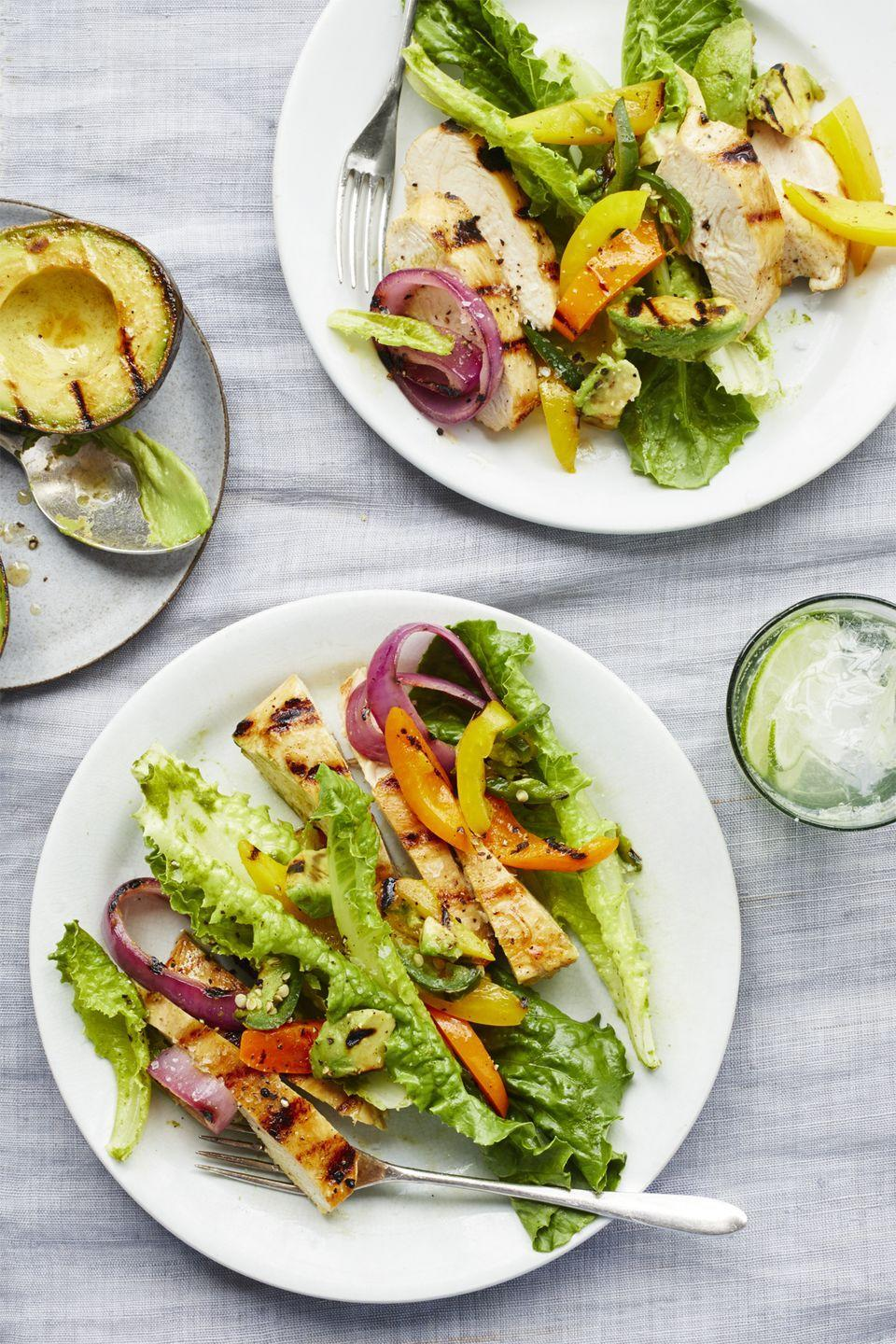 "<p>Skip the tortillas for lettuce and these easy chicken fajitas become way healthier.</p><p><a href=""https://www.womansday.com/food-recipes/food-drinks/recipes/a59406/chicken-fajita-salad-lime-cilantro-vinaigrette-recipe/"" rel=""nofollow noopener"" target=""_blank"" data-ylk=""slk:Get the Chicken Fajita Salad with Lime-Cilantro Vinaigrette recipe."" class=""link rapid-noclick-resp""><em><strong>Get the Chicken Fajita Salad with Lime-Cilantro Vinaigrette recipe.</strong></em></a></p>"