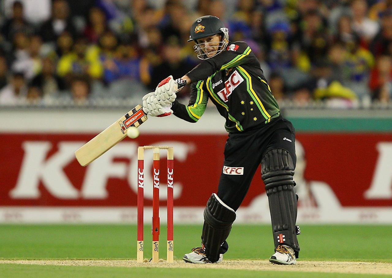 MELBOURNE, AUSTRALIA - JANUARY 28:  George Bailey of Australia plays a shot during game two of the Twenty20 International series between Australia and Sri Lanka at Melbourne Cricket Ground on January 28, 2013 in Melbourne, Australia.  (Photo by Robert Prezioso/Getty Images)