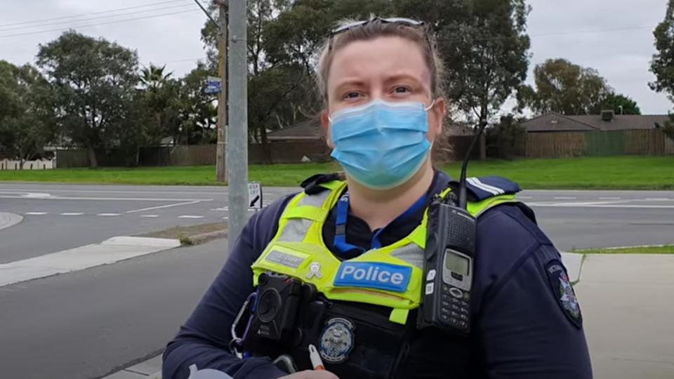 Police officers pulled over a pedestrian who refused to wear a face mask in a mandatory Melbourne area.