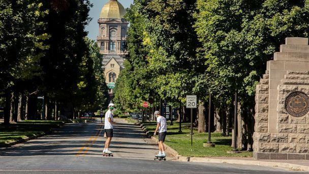 PHOTO: Students skate on campus at the University of Notre Dame in South Bend, Ind., Aug. 22, 2020. (TNS via Zuma Press )