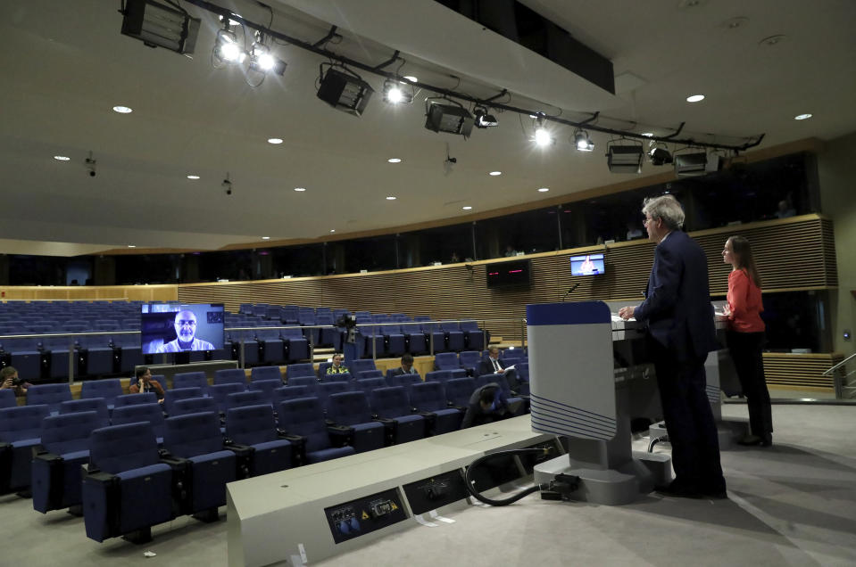 European Commissioner for the Economy Paolo Gentiloni speaks during a media conference on the 2020 Eurostat report, progress toward sustainable development goals in the EU, at EU headquarters in Brussels, Monday, June 22, 2020. (Yves Herman, Pool Photo via AP)