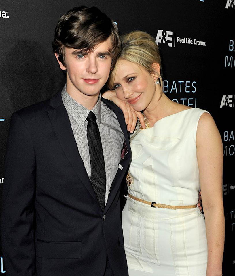 "Freddie Highmore and Vera Farmiga arrive at the premiere of A&E Network's ""Bates Motel"" at Soho House on March 12, 2013 in West Hollywood, California."