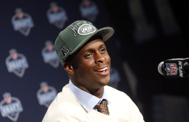 West Virginia's Geno Smith speaks during a news conference after being selected 39th overall by the New York Jets in the second round of the NFL football draft, Friday, April 26, 2013, at Radio City Music Hall in New York. (AP Photo/Jason DeCrow)
