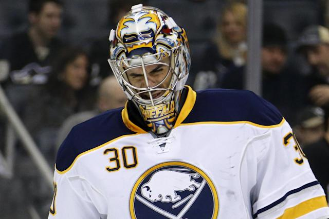 Buffalo Sabres goalie Ryan Miller (30) skates during a timeout after allowing a second period goal to Pittsburgh Penguins' Deryk Engelland during an NHL hockey game between the Pittsburgh Penguins and the Buffalo Sabres in Pittsburgh, Monday, Jan. 27, 2014. (AP Photo/Gene J. Puskar)