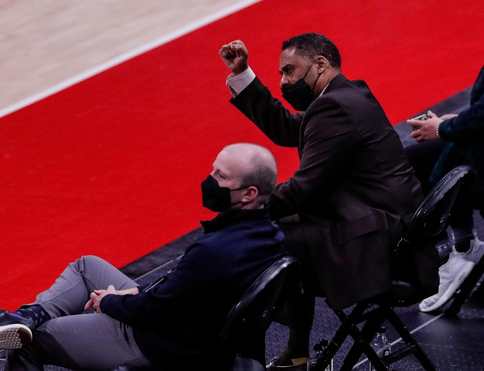 Detroit Pistons general manager Troy Weaver celebrates a play made by the team against the Sacramento Kings at Little Caesars Arena, Feb. 26, 2021.