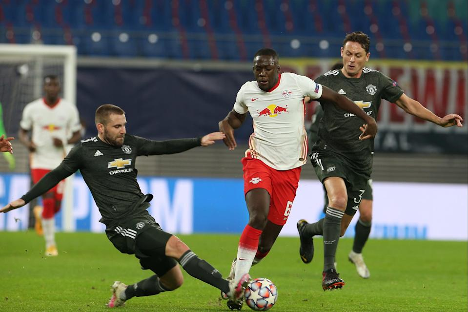 Konate is developing on the ballManchester United via Getty Images