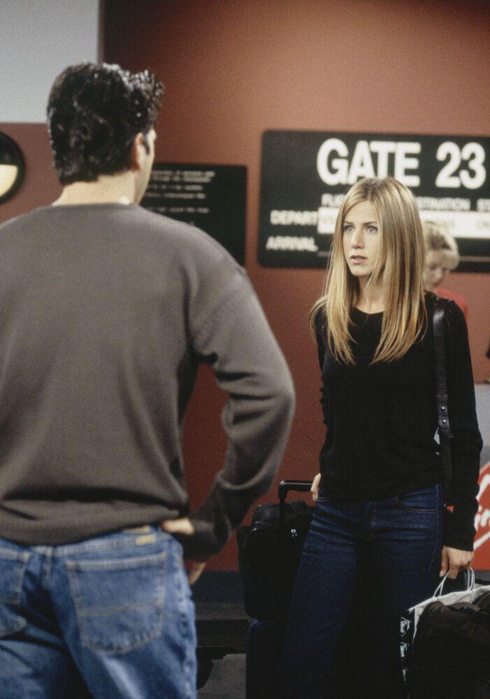 FRIENDS -- 'The One After Ross Says Rachel' Episode 1 -- Pictured: (l-r) David Schwimmer as Ross Geller, Jennifer Aniston as Rachel Greene (Photo by J. Delvalle/NBC/NBCU Photo Bank via Getty Images)
