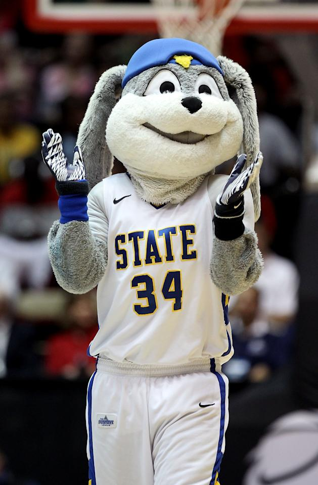 ALBUQUERQUE, NM - MARCH 15:  The South Dakota State Jackrabbits mascot walks on the court against the Baylor Bears during the second round of the 2012 NCAA Men's Basketball Tournament at The Pit on March 15, 2012 in Albuquerque, New Mexico.  (Photo by Christian Petersen/Getty Images)