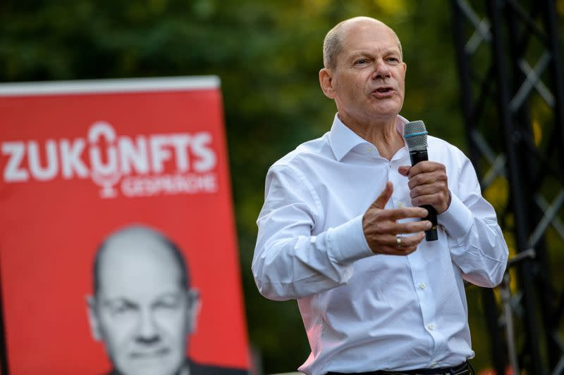 FILE PHOTO: SPD chancellor candidate Olaf Scholz campaigns in Leipzig