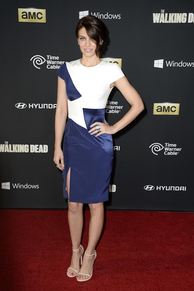 """UNIVERSAL CITY, CA - OCTOBER 03: Actress Lauren Cohan arrives at the premiere of AMC's """"The Walking Dead"""" 4th season at Universal CityWalk on October 3, 2013 in Universal City, California. (Photo by Frazer Harrison/Getty Images)"""