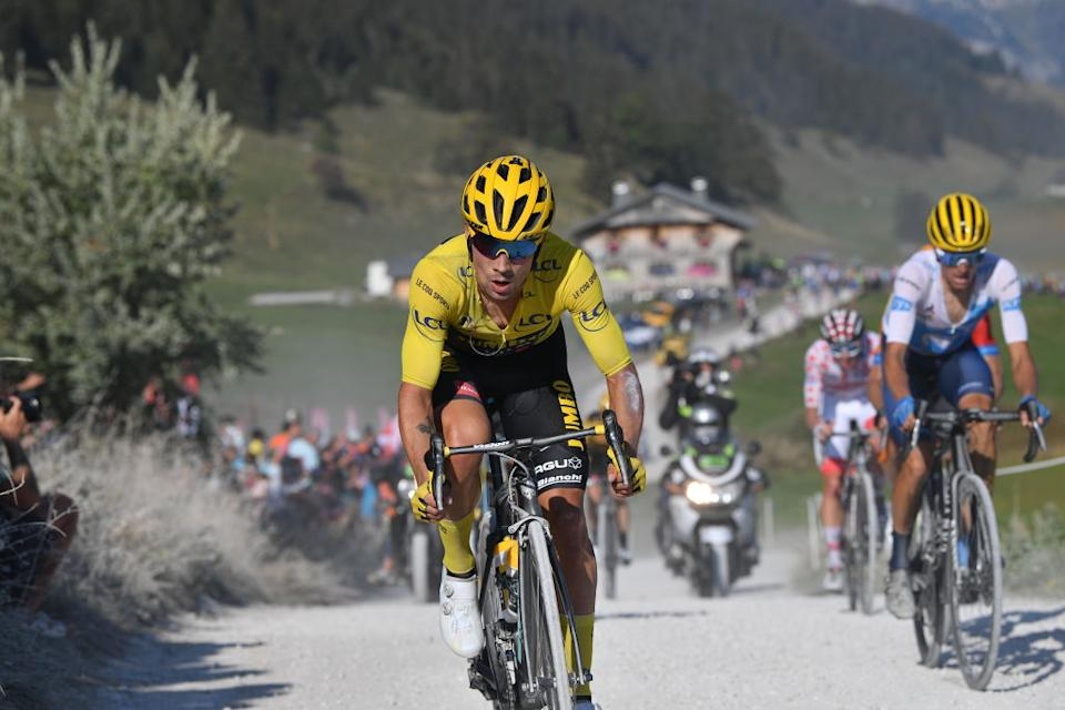 Primoz Roglic of Team Jumbo  Visma in action during the stage 18 of the 107th edition of the Tour de France cycling race from Meribel to LaRochesurForon 175 km in France Thursday 17 September 2020 This years Tour de France was postponed due to the worldwide Covid19 pandemic The 2020 race starts in Nice on Saturday 29 August and ends on 20 September BELGA PHOTO DAVID STOCKMAN Photo by DAVID STOCKMANBELGA MAGAFP via Getty Images