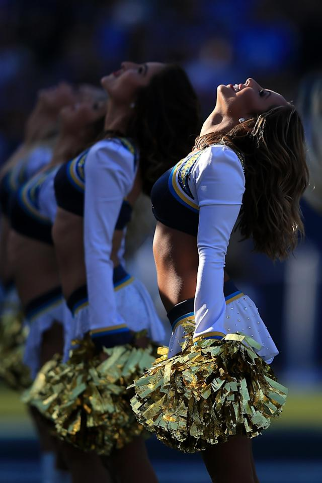 <p>The Charger Girls perform during the game between the Los Angeles Chargers and Cleveland Browns at StubHub Center on December 3, 2017 in Carson, California. (Photo by Sean M. Haffey/Getty Images) </p>