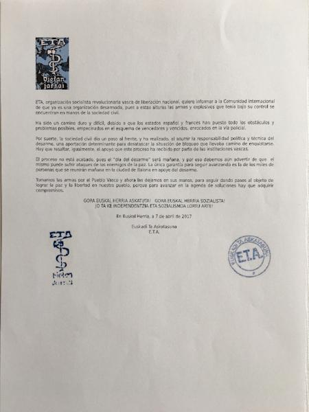 A scan of a letter addressed to the international community from the Basque separatist group ETA, dated April 7, 2017, says the group will disarm on April 8, 2017 (AFP Photo/-)
