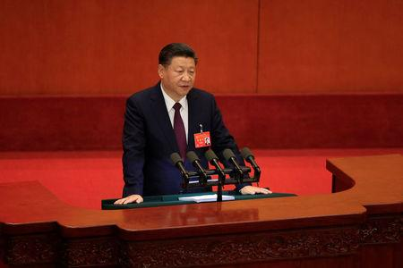 China's President Xi Jinping speaks during the opening session of the 19th National Congress of the Communist Party of China at the Great Hall of the People in Beijing