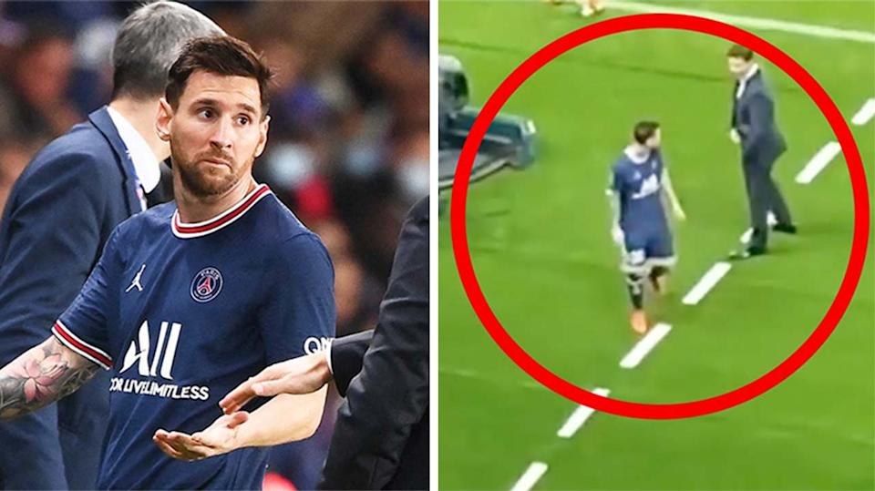Lionel Messi (pictured left) gesturing at his coach and (pictured right refusing to shake the hand of his coach Mauricio Pochettino.