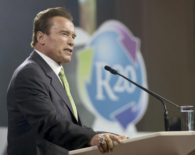 Former California Gov. Arnold Schwarzenegger speaks at the R20 Austrian World Summit in May 2018. One of the summit's aims is to further the Paris Climate Agreement. (Photo: Ronald Zak/AP)