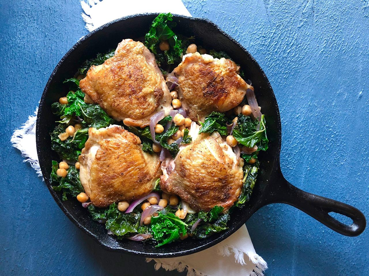 """<p>You could complicate things if you wanted to, but why bother when the simple way tastes so great? Not counting salt, pepper, and oil, this recipe contains just six ingredients—and tastes like a million bucks. That's because the lightly seasoned chicken releases all its chicken-y goodness into the skillet, where onions, garlic, kale, and chickpeas lap it up so that none of the rich poultry flavor goes to waste. If you can, purchase air-chilled and/or organic chicken thighs. Since chicken is the star here, you want the best you can find. </p> <p> <a href=""""https://www.cookinglight.com/recipes/crispy-chicken-thighs-kale-chickpeas"""">View Recipe: Crispy Chicken Thighs With Kale and Chickpeas</a></p>"""