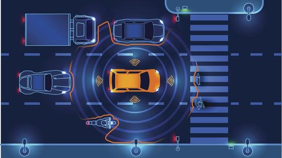 A driverless car detects obstacles.