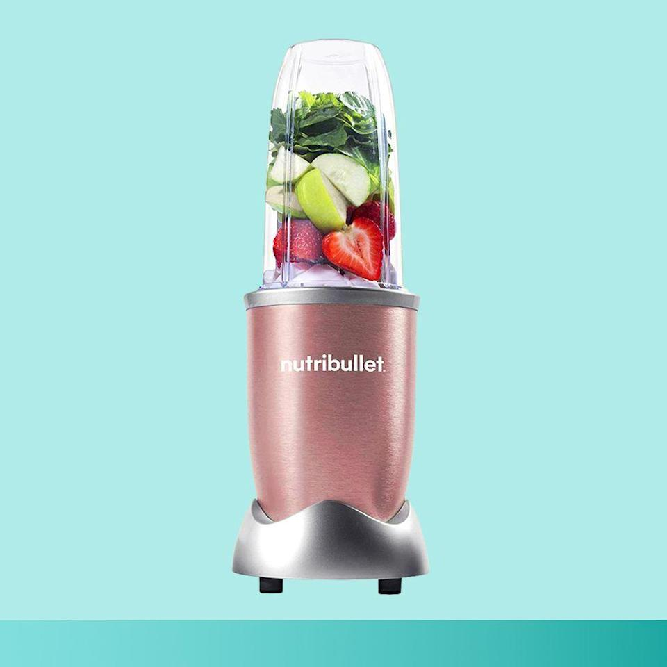 """<p><strong>NutriBullet</strong></p><p>amazon.com</p><p><strong>$79.97</strong></p><p><a href=""""https://www.amazon.com/dp/B0163K1Z3G?tag=syn-yahoo-20&ascsubtag=%5Bartid%7C2089.g.376%5Bsrc%7Cyahoo-us"""" rel=""""nofollow noopener"""" target=""""_blank"""" data-ylk=""""slk:Shop Now"""" class=""""link rapid-noclick-resp"""">Shop Now</a></p><p>Starting the day on a health kick has never been easier than with the NutriBullet Pro blender (now available in 11 just-launched colors!). Its 900-watt motor pulverizes fruits, veggies, nuts, and ice into the perfect consistency for whatever you're in the mood for. Just blend and pop on the to-go lid, and you're ready for whatever the day brings!</p>"""