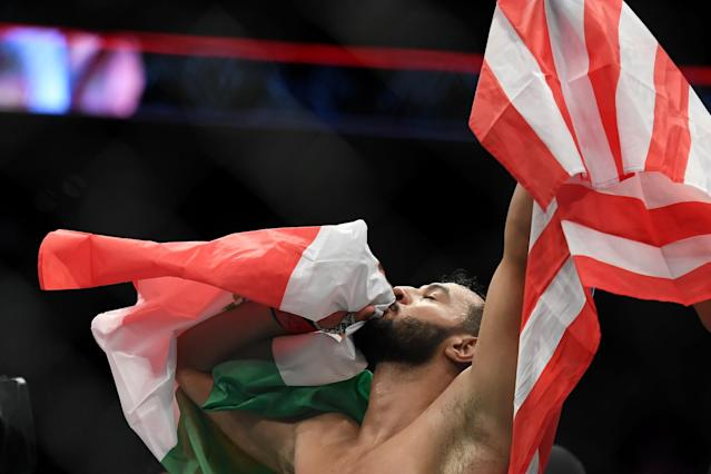 Oct 18, 2019; Boston, MA, USA; Dominick Reyes reacts after defeating Chris Weidman (not seen) in a light heavyweight bout during UFC Fight Night at the TD Garden. Mandatory Credit: Bob DeChiara-USA TODAY Sports