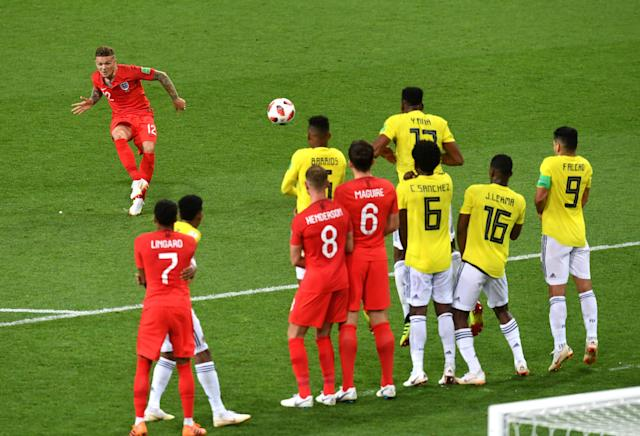<p>Kieran Trippier of England takes a free kick during the 2018 FIFA World Cup Russia Round of 16 match between Colombia and England at Spartak Stadium on July 3, 2018 in Moscow, Russia. (Photo by Michael Regan – FIFA/FIFA via Getty Images) </p>