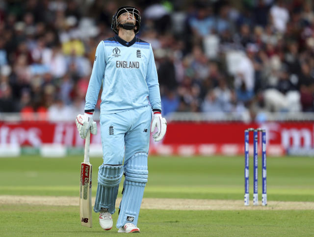 England's Joe Root reacts as he leaves the field after being dismissed during the Cricket World Cup match between England and Pakistan at Trent Bridge in Nottingham, Monday, June 3, 2019. (AP Photo/Rui Vieira)
