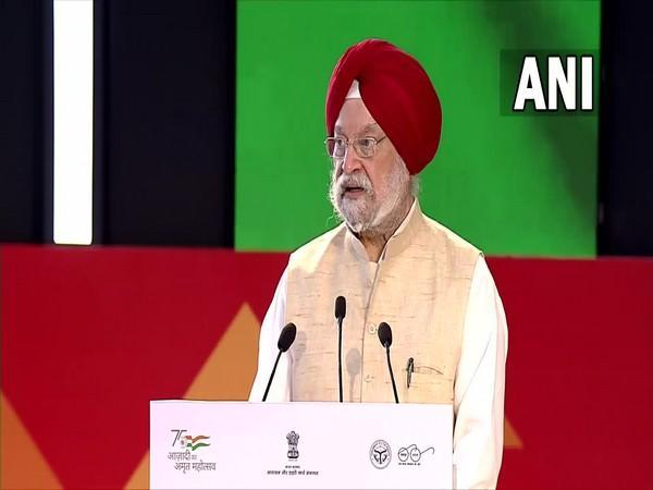 Union Minister Hardeep Singh Puri at an event in Lucknow today. (Photo/ ANI)