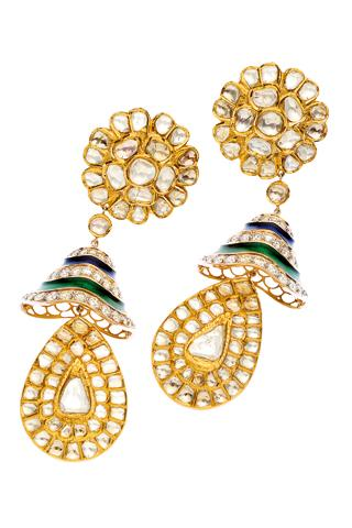 Diamonds and french enamel set in 22K gold earrings by Jaipur Gems