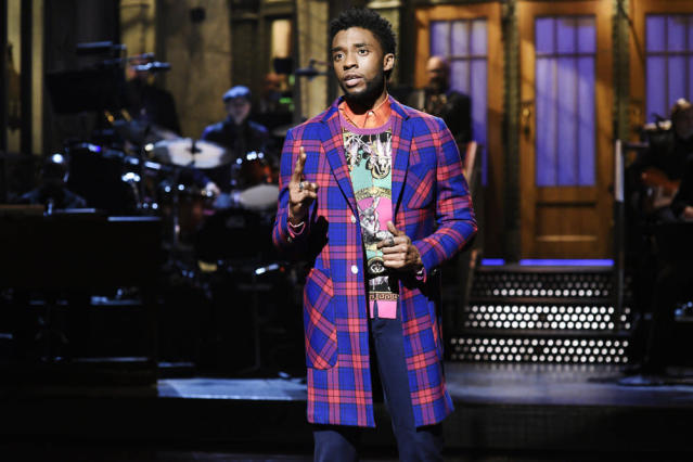 Chadwick Boseman hosted <em>Saturday Night Live</em> for the first time. (Photo: Will Heath/NBC)