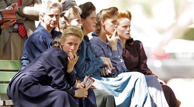 Sect members waiting to testify at Jeffs' court hearing. Photo: AP